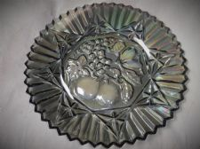 "VINTAGE LARGE 11.5"" SMOKED GREY PETROL LUSTRE HEAVY GLASS PLATE FRUIT DESIGN"